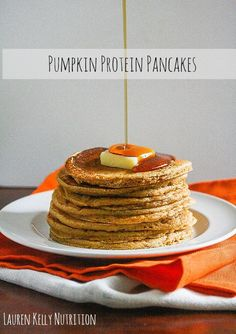 The Pumpkin Protein Pancakes Recipe are so delicious you will want to make them all year long! This is a great healthy breakfast idea. Lauren Kelly Nutrition