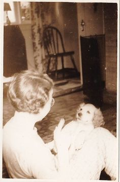 Old Antique Vintage Photograph Woman Holding Adorable Puppy Dog in Lap