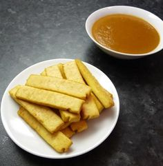 Baked Tofu Strips with Peanut Sauce