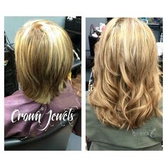 """This before and after hair picture shows how much change even a little bit of length makes.  These Queen C Hair Extensions in Winter Beige Blonde are available in 18"""" - 140g"""