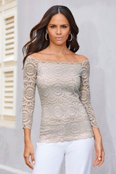 Easy stretch, two-tone lace scalloped top skims the neckline in sexy, off-the-shoulder style for standout night-out looks.Fully linedOff-the-shoulder necklineThree-quarter sl Classy Trends, Boho Trends, Dressy Tops, Casual Tops, Scallop Top, Easy Stretches, Indie Fashion, Long Sleeve Tops, Off The Shoulder