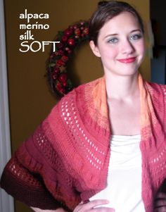 SPICED GRAPEFRUIT Shawlette YearRound Alpaca by EveStarrFiberArts, $239  Soon to be released for knitters as a pdf download! Follow me on twitter (evestarr @eviestarr) or check back on Pinterest for updates on the release.  In the meantime, there is one original available. Spoil yourself with year-round artisanal luxury!