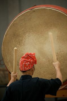 Japanese Taiko (Drum). 1,000 years ago used as military instruments and as time keepers for daily village life. It came to be associated with religious activities. In later periods, the Taiko was played as a centerpiece at festivals,