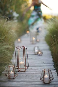 Metalwork Hurricane by Anthropologie in Rose Gold Size: Small Candles