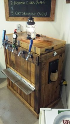 So this may happen. Pallet Crafts, Pallet Projects, Home Projects, Woodworking Projects, Farm Projects, Pallet Ideas, Beer Fridge, Home Brewery, Mobile Bar