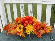 Cemetery Flowers Orange Leaves Fall Grave Saddle  in Everything Else, Funeral & Cemetery, Other Funeral & Cemetery | eBay