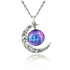 NEW Purple Galaxy Universe Interstellar crossing Crescent Moon Glass Cabochon Necklace