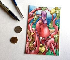 Kraken octopus sea giraffe fish snail steampunk wall art miniature art Whimsical - Original ART POSTCARD 4 x 6 Inch Watercolor - Katie Hone