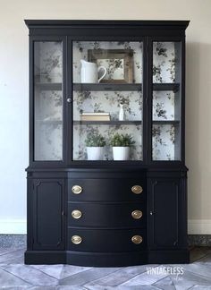 """Federal style bow front china cabinet painted in Lamp Black (exterior) and Queenstown Gray (interior). The back of the piece was lined with a gray floral Magnolia Homes wallpaper. Sealed with HPTC in Flat. Refurbished Furniture, Paint Furniture, Repurposed Furniture, Vintage Furniture, Furniture Makeover, Furniture Removal, Rustic Furniture, Refurbished Cabinets, Black Dining Room Furniture"