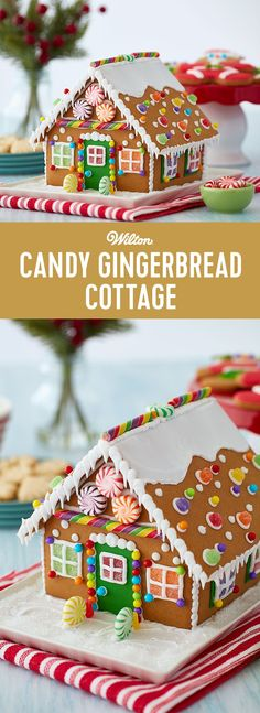 Candy Gingerbread Cottage - Ready for some holiday fun? Get family and friends together and decorate a candy-covered gingerbread cottage. Kit includes bright and colorful candy, green fondant and icing and all the ideas you will need to create memories and have an awesome time this holiday season. Skill level: Beginner #gingerbreadhouse #gingerbread #christmas #wiltoncakes