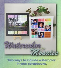 8x8 scrapbook pages decorated with watercolor. So pretty! Pin Now, Read Later