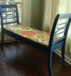 Two old chairs turned into a bench. I like the colors.