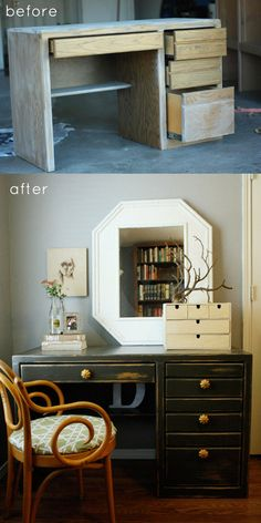awesome before and after desk via http://www.designsponge.com/2011/11/before-after-rustic-refinished-desk.html
