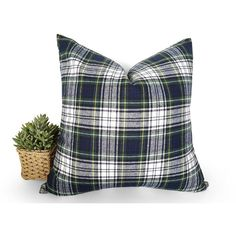 Blue Green White Plaid Pillow Wool Plaid Pillows Gordon Dress Tartan... (€32) ❤ liked on Polyvore featuring home, home decor, throw pillows, decorative pillows, grey, home & living, home décor, blue grey throw pillows, grey throw pillows and blue throw pillows