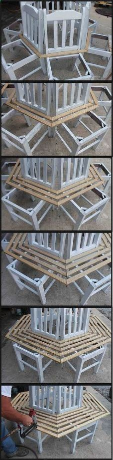 tree bench made from kitchen chairs, diy, outdoor furniture, repurposing upcycling, woodworking projects #repurposedfurniturechair