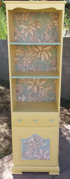 Vintage Refurbished Pale Yellow Beach/Cottage House Hutch. $150.00, via Etsy.  Jewelry storage idea, this could be done DIY with a piece from the thrift store.