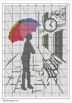 Monochrome silhouette with color umbrella  cross stitch pattern or cross stitch chart, but may also be used for: crochet, knitting motifs, knotting, loom beading, Perler beading, weaving and tapestry design, pixel art, micro macrame, friendship bracelets, and anything involving the use of a charted pattern.