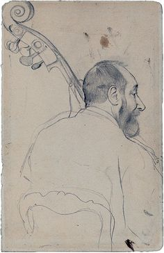 edward degas drawings | Musician portrait, date, title, and medium unknown, by Edgar Degas