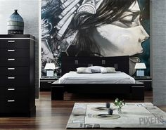 Unique bedroom with awesome wall mural! <3  From PIXERSIZE.COM