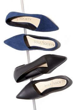 Asymmetrical pointed toe flats by Sole Society