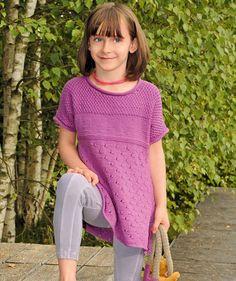 Туника с коротким рукавом для девочки - схема вязания спицами. Вяжем Туники на…
