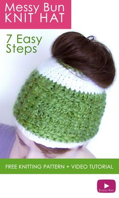 b2658667a95 How to Knit a Messy Bun Hat Beanie Ponytails in 7 Easy Steps. Free Pattern