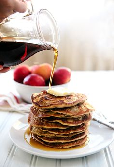 Oatmeal Apple Blender Pancakes - This simple gluten free breakfast uses Steel Cut Oats instead of flour. So yummy! Get Free shipping on any #Vitamix with code 06-006499 https://www.vitamix.com/Shop?COUPON=06-006499