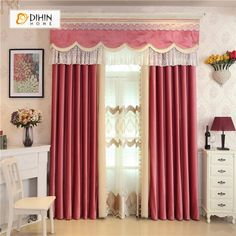 icu ~ DIHIN HOME Red and Beige Velvet Valance ,Blackout Curtains Grommet Window Curtain for Living Room Panel Grommet Curtains, Sheer Curtains, Blackout Curtains, Window Curtains, Drapery, Valance, Curtain Length, Bedroom Wardrobe, Decoration Home