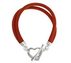 UltraFine Silver Polished Heart Toggle Leather Bracelet