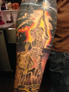 Star Wars Tattoo Sleeve. Dude... Star wars on one side, batman on the other?? Perfect.