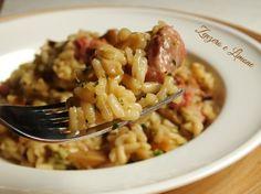 risotto con salsiccia e funghi -