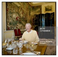 At Blenheim Palace: His Grace, John George Vanderbilt Henry Spencer-Churchill, the 11th Duke of Marlborough is photographed at breakfast in the family dining room for Vanity Fair Magazine ( 25-27 Oct 2010) in Woodstock, England.