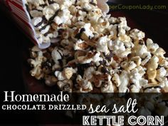 Homemade Chocolate Drizzled Sea Salt Kettle Corn!! So yummy! http://www.supercouponlady.com/2014/01/homemade-chocolate-drizzled-sea-salt-kettle-corn.html/
