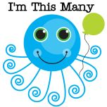"""One cute blue octopus and one balloon along with text that reads """"I'm This Many"""" is featured on this cute first birthday design that can be worn the entire year."""
