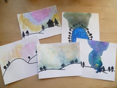 Very Last First Time - Aurora Borealis (The Northern Lights) We read several books about the Northern Lights and discussed what causes them. We enjoyed this water color art project painting Aurora Borealis on small pieces of card stock.Starting with a black marker for the horizon, then adding colors of water color and blending in various patterns to match the Northern Lights we see in the photos found on Google.