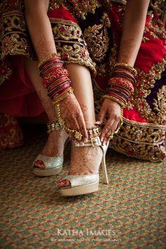 bridal heels, bangles and beats of india