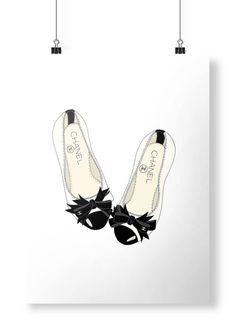 Pisos de Chanel moda ilustración arte cartel por emmakisstina