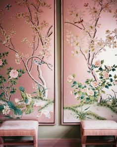 ♡ Home Pink Home ♡  pink chinoiserie panels