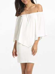 Batwing Off Shoulder Dacron Plain Bodycon-dress Only $20.95 USD More info...