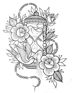 Flores - Flores You are in the right place about Flores Tattoo Design And Style Galleries On The Net – Are - Printable Adult Coloring Pages, Coloring Pages To Print, Colouring Pages, Coloring Books, Cute Tattoos, Body Art Tattoos, Sleeve Tattoos, Hourglass Tattoo, Tattoo Design Drawings