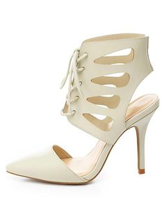 Cut-Out Lace-Up Pointed Toe Heels #CharlotteRusse #heels
