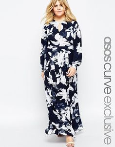 71ccb8a2ad9 Modest Fashion-Plus Size · ASOS CURVE Maxi Dress in Blue Floral White  Floral Dress