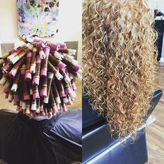 "Spiral perm wrap and results [ ""Spiral perm. This is beautiful but I – Kathryn Painter - Perm Hair Styles Long Perm, Spiral Perm Long Hair, Spiral Perms, Spiral Perm Rods, Curly Perm, Wavy Hair, Permed Hair Medium Length, Medium Permed Hairstyles, Blonde Hair"