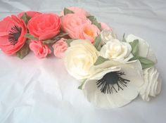 Paper Flower Garland/Paper Flowers/Wedding Arch Garland/Table Flower Garland/Poppy Garland/Rose Garland on Etsy, $35.00