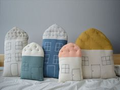 Camomile London - Teal/Ivory Small House Cushion