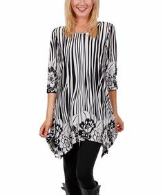 Another great find on #zulily! Black & White Zebra Sidetail Tunic - Plus #zulilyfinds
