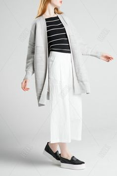 Solid Color Collarless Slit Cardigan
