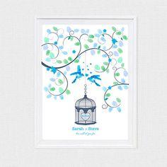 wedding fingerprint guest book tree birdcage love by idoityourself