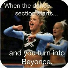 When the dance section starts and you turn into cheerleading beyonce - Estelle Backem - Photo Cheerleading Memes, Cheer Stunts, Cheer Dance, Cheerleading Cheers, Cheerleading Outfits, Nfl Cheerleaders, Cheer Qoutes, Cheer Sayings, Cheer Funny