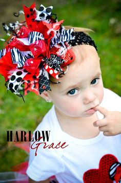 Red and Black Zebra Bling Over the Top Hair Bow with matching headband. $21.99, via Etsy.
